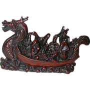 Well-Carved Rosewood Chinese Dragon Boat With Multiple Passengers