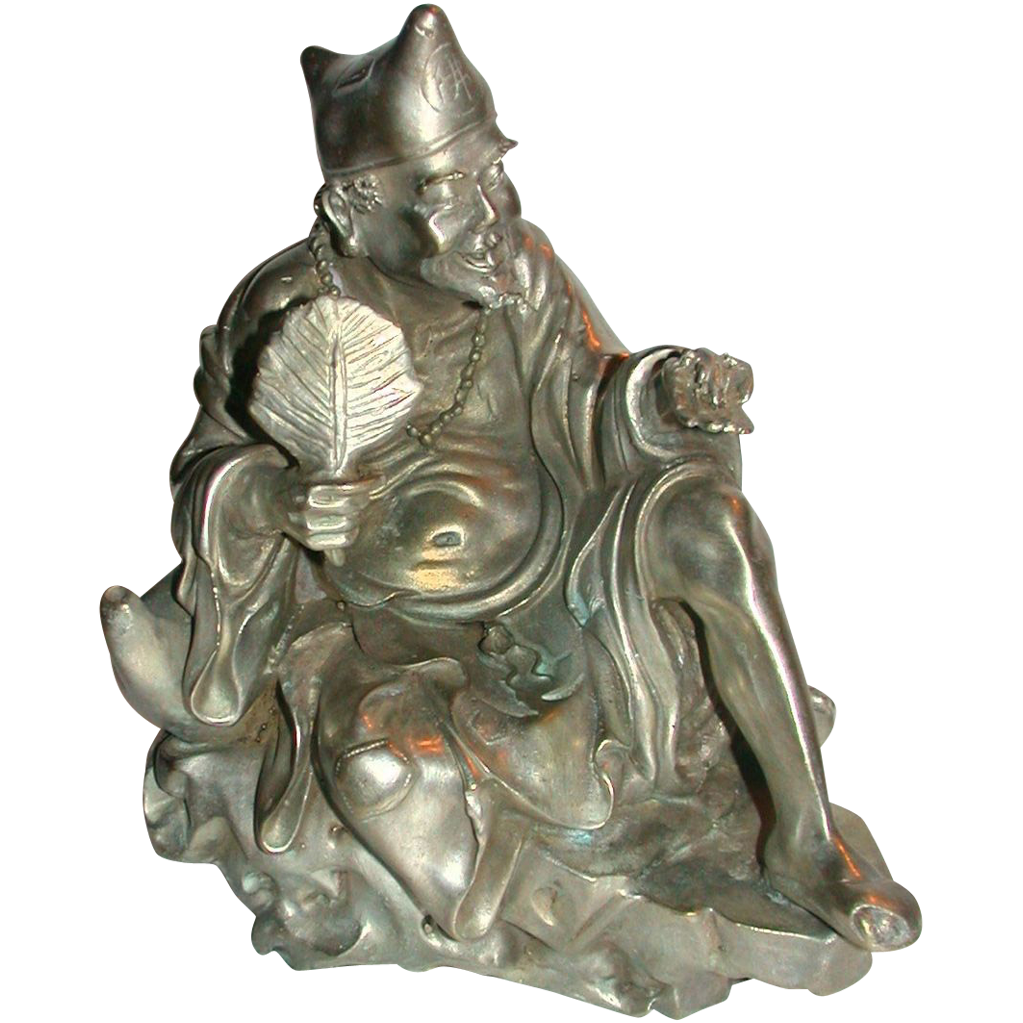 Antique Chinese Silvered  Bronze Of Immortal, Seated And Holding A Fan and An Insect (Cicada)