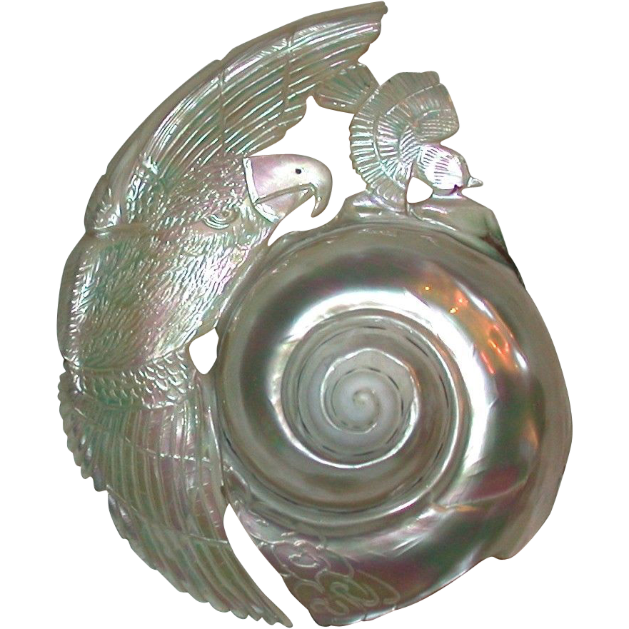 Interesting Art Deco Shell Carved With Eagle And Sparrow Design