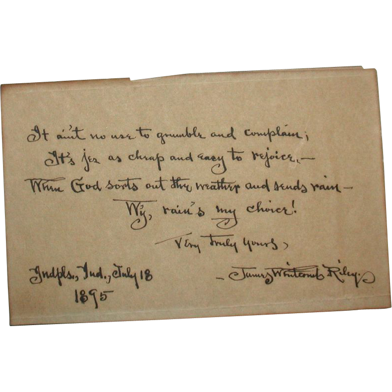 JAMES WHITCOMB RILEY (1849 - 1916) Original Signed Hand-Written Poem In Dialect