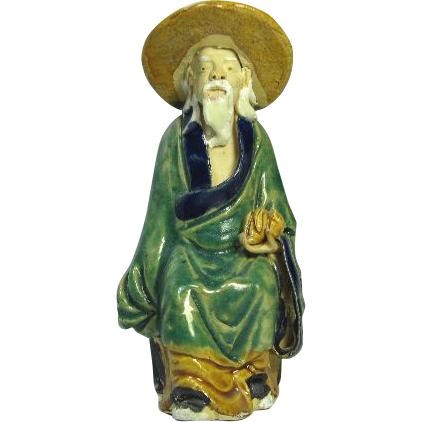 Chinese Mudman Seated Sage With  Peach (Symbol of Long Life) and Hat, Circa 1920