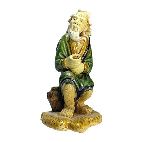 Antique Chinese Mudman Fisherman On A Palm Leaf, Circa 1900