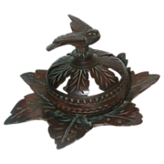 Carved Walnut Box With Bird Form Finial. Lovely Foliate Base