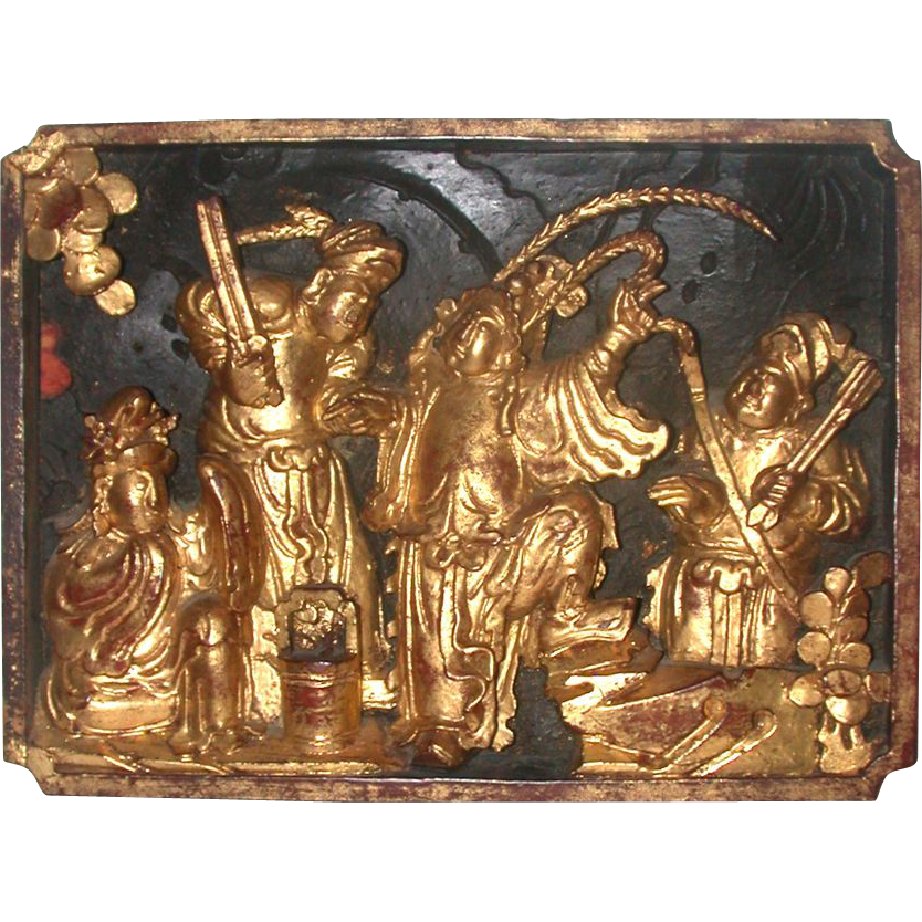 Carved And Gilt Wood Panel, Well-Detailed, Chinese, Early 1900s