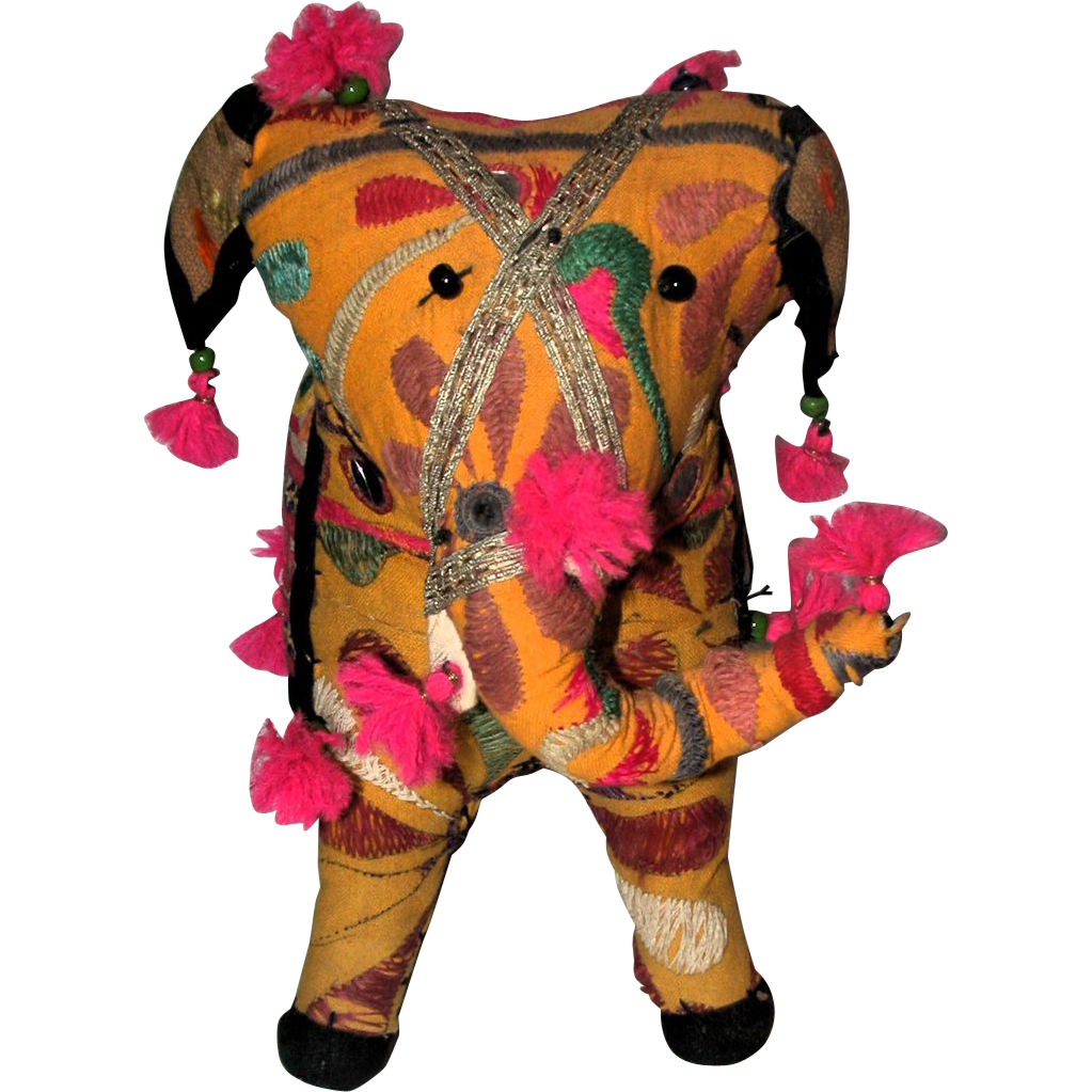 Adorable Gaily Decorated Fabric Elephant From India, Circa 1975