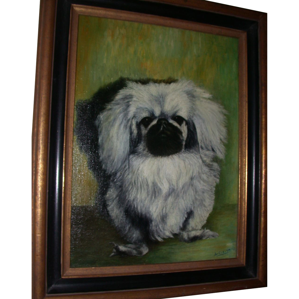 "Oil On Canvas - A. Cleiva - ""Pekingese Dog"""