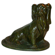 "Bronze Sculpture - L. Fontinelle (1896-1964) -  ""Seated Pekingese"" - Signed"