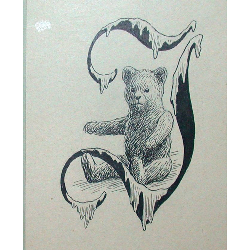 "Original Drawing - Poul Steffensen - Teddy Bear In A Stylized ""J"" - Circa 1917"