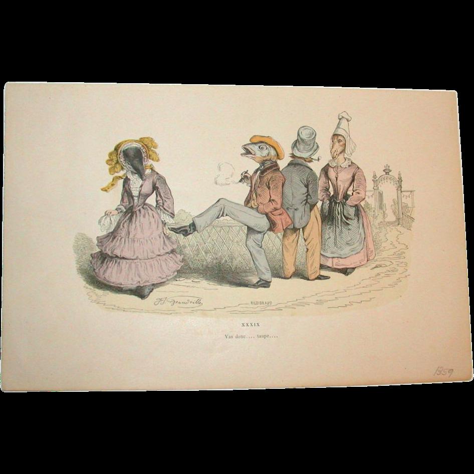 Grandville (Jean Ignace Isidore Gérard) (1803 - 1847) - Les Métamorphoses du jour (1828–29) Plate XXXIX
