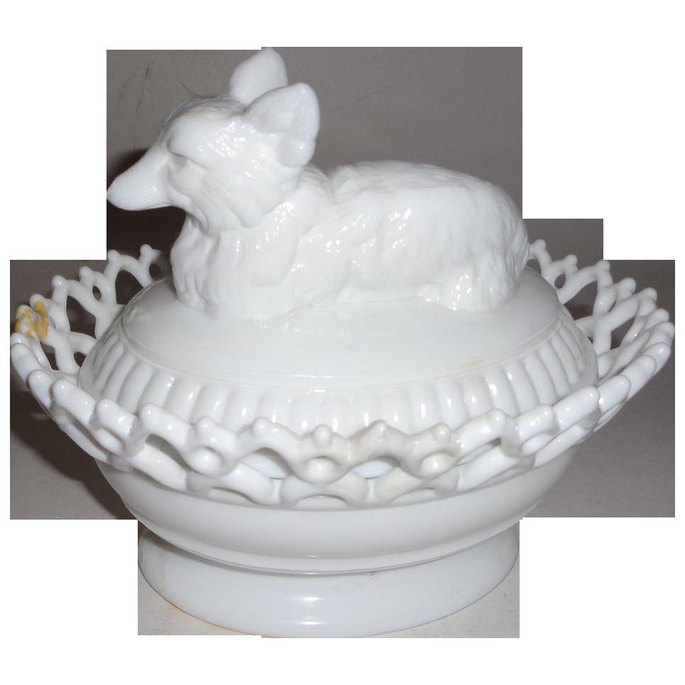 Atterbury Glass Fox on Basket - Two Piece Milk Glass Set - Circa 1900