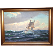 Svend Drews (1919 - 2003) - Magnificent Large Marine Painting, Oil On Canvas,