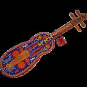 LARRY HAGMAN'S ESTATE - Native American Carved Beaded Violin-type Instrument