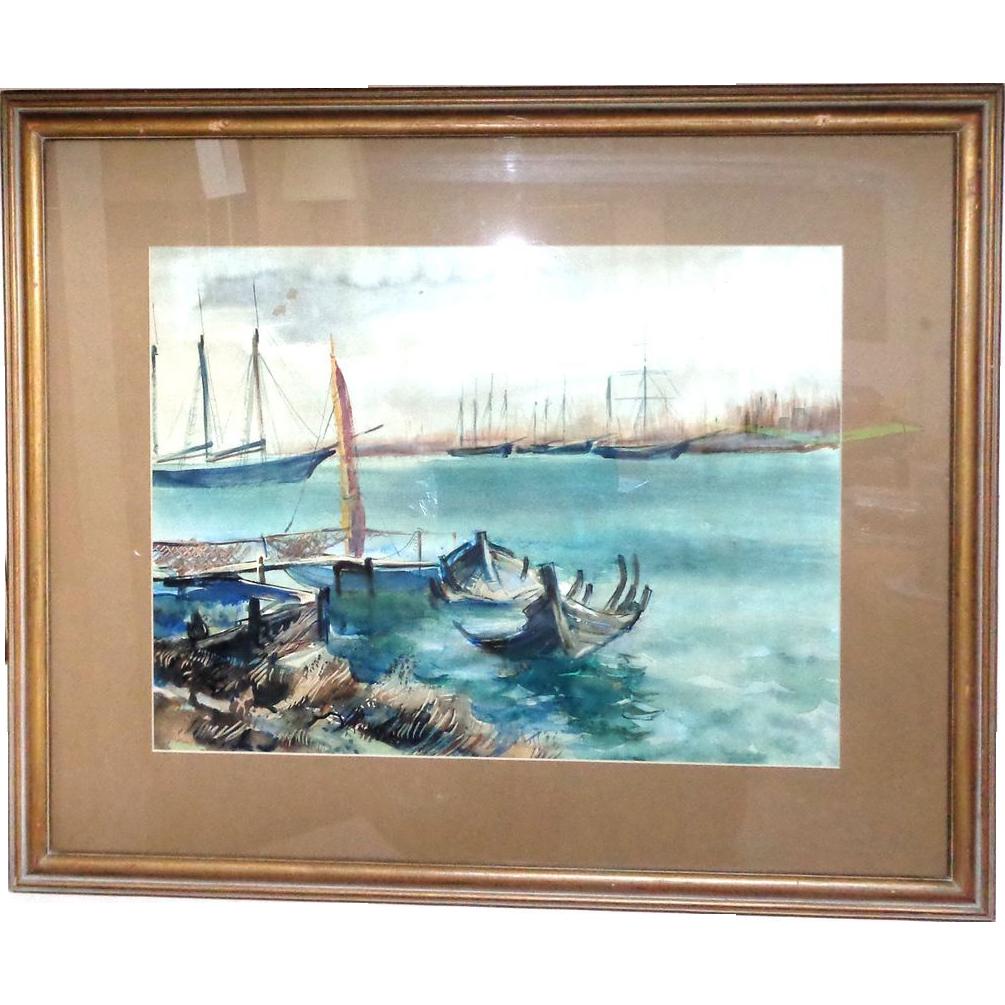 Rudolf Jacobi (1889 - 1972) - Exquisite Watercolor Harbor Scene