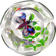 Excellent Antique Baccarat Faceted Millefiori Butterfly And White Clematis Paperweight