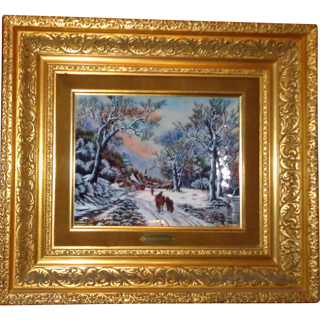 """L'Hiver"" (Winter) Enamel Painting on Copper - Signed and Numbered - Betourne Studios - Limoges"