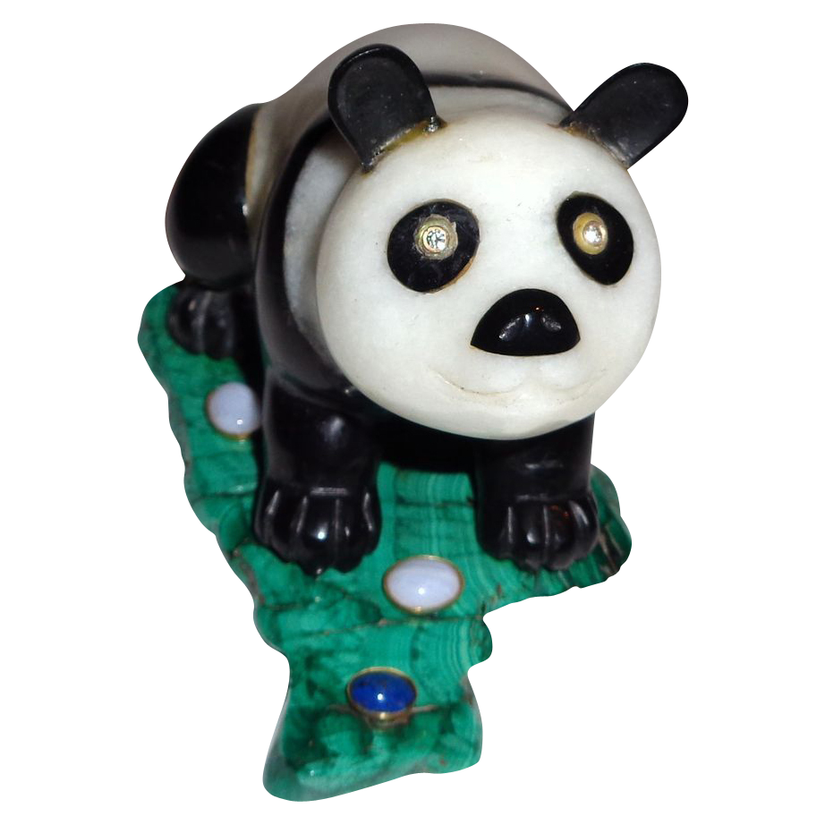 Russian Imperial Carved Hardstone Panda On A Malachite Base, Absolutely Adorable!