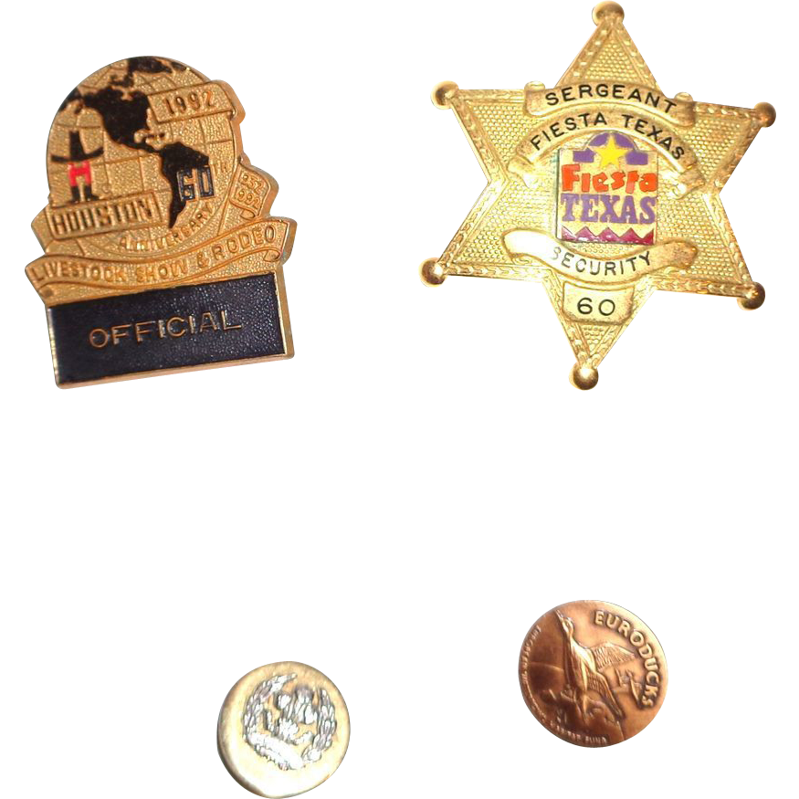 "LARRY HAGMAN'S ESTATE - Blackinton Star Badge, ""Official"" Hat Badge, Euroducks Pin, and Commemorative Button"