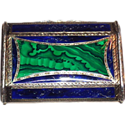 Continental Malachite, Lapis, 800 Silver, and Silver Gilt Card Case,  Circa 1910