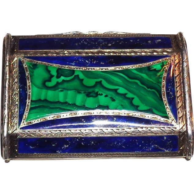 Continental Silver, Silver Gilt, Malachite And Lapis Card Case,  Circa 1910