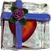 """Steven Lundberg - """"The Gift"""" - Gift Wrapped Heart Personally Signed and Dated  Paperweight, c 1993"""
