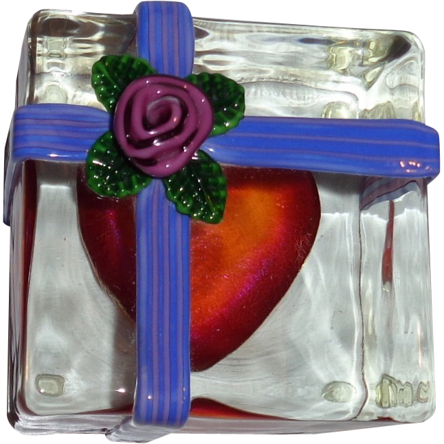 "Steven Lundberg - ""The Gift"" - Gift Wrapped Heart Personally Signed and Dated  Paperweight, c 1993"