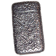 TIFFANY Silver Match Safe (Vesta), Marvelous Repousse Fern And Foliate Front And Reverse, Circa 1885