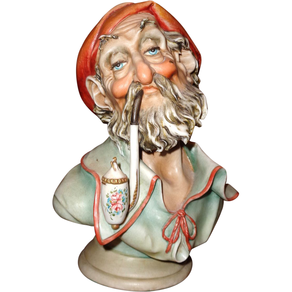 "Borsato - ""Man With Pipe"" - Wonderful Porcelain Sculpture -Great Detail - Great Humor!"