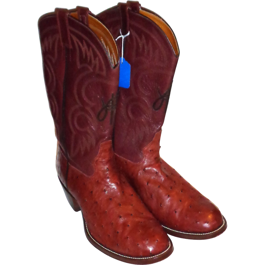 LARRY HAGMAN'S ESTATE -  Custom Monogrammed Ostrich Boots