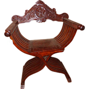 Historic Revival Savonarola Chair, Circa 1900