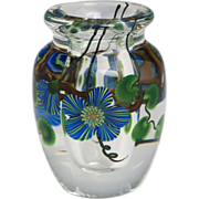 """Steven Lundberg - Personally Signed, Dated """"Hearts And Flowers"""" Petite Vase, C 1990."""
