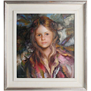 "Francisco Masseria (Argentine,1927-2002) - ""Portrait Of A Young Girl"" - Original Oil On Canvas"