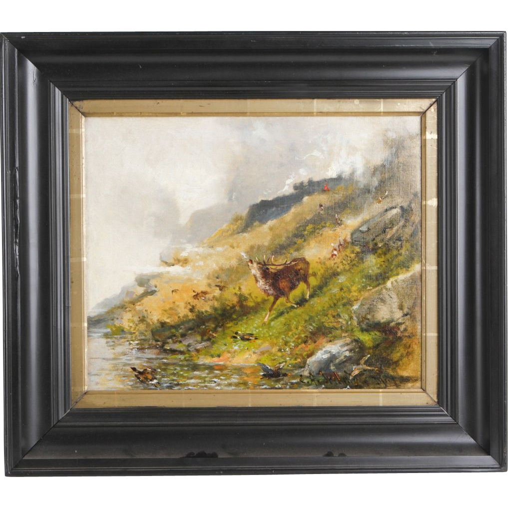 Antique Northern European Painting Of An Elk On A Mountainside - Circa late 19th Century
