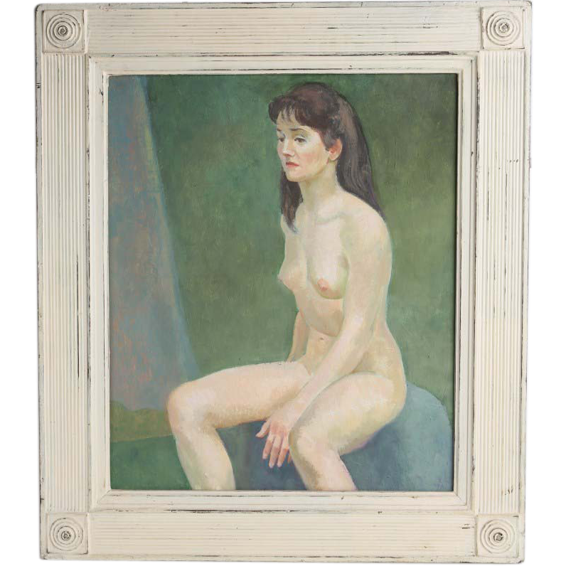 """Seated Nude On Blue Chair"" Oil on Board - by Well-Listed Artist Raphael Soyer"