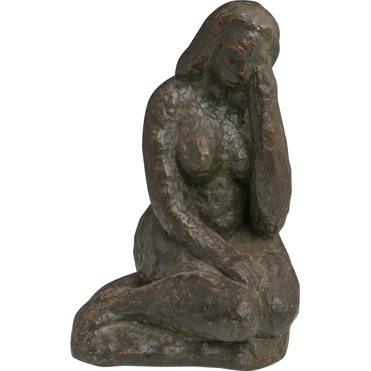 Original Terracotta Nude Sculpture - Signed Annalise R. Embden