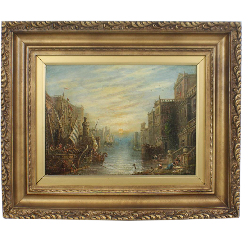 "Original Signed Oil by Well-Listed Artist Claude T. Stanfield Moore  (English, 1853-1901) -  ""Carthage - Ulysses Departing For The Isle Cyclops"""