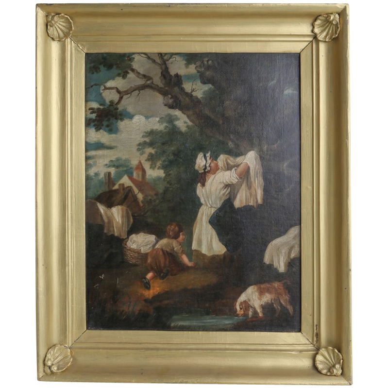 "GEORGE MORLAND (British, 1763-1804) Original Signed Oil - ""Hanging The Laundry"" - Well-Listed Important Artist!"