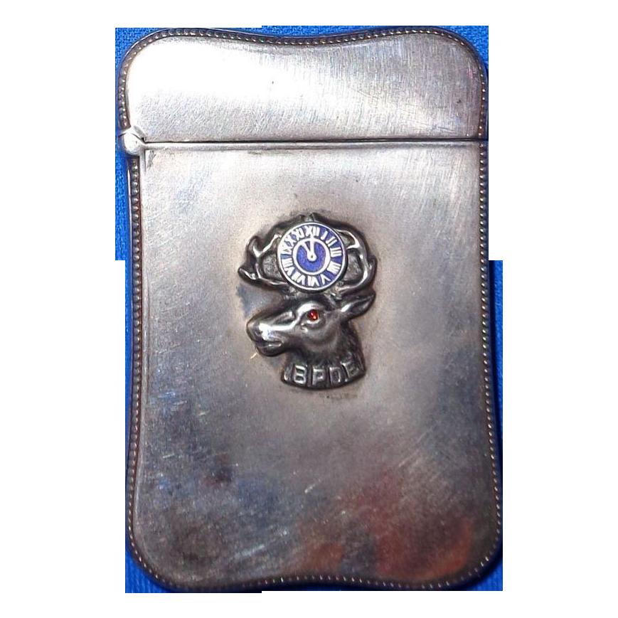 Antique Silver and Enamel Fritsche Match Safe (Vesta),  BPOE Emblem,  c 1900