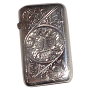 Antique Silver Match Safe (Vesta) - Engraved Owl, Scroll and Stylized Palmette Decoration to front; Floral Decoration to Back Circa 1880