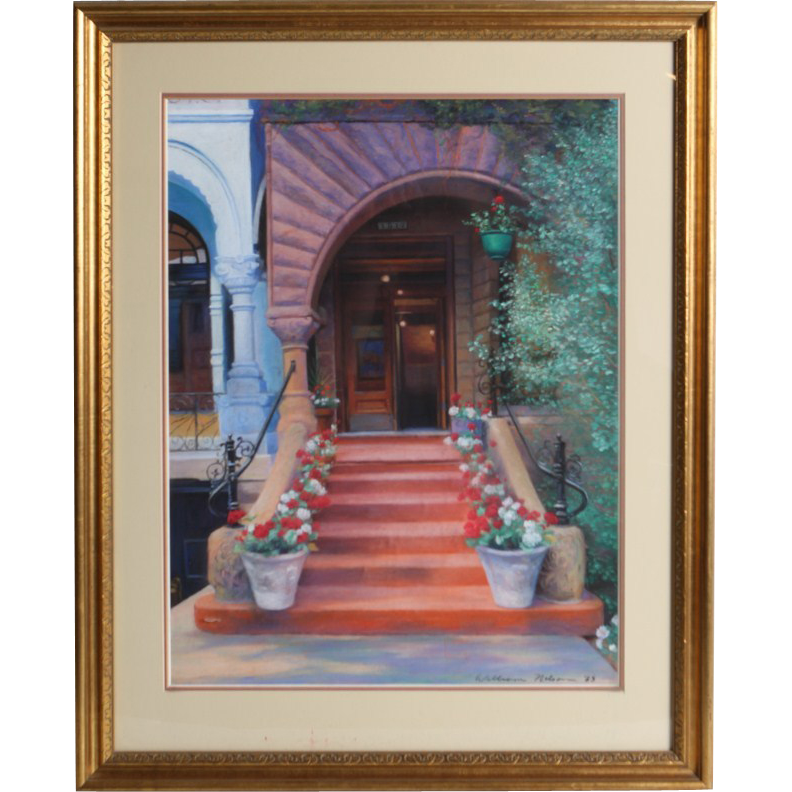 "William Nelson - ""Stairway With Geraniums"" - Exquisite Pastel - Signed and Dated"