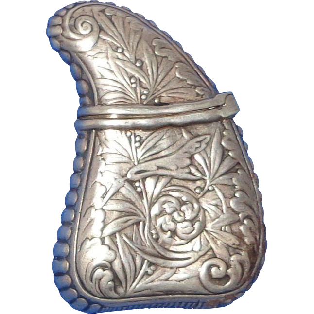 Antique Gorham Silver Match Safe (Vesta) In Tooth Form With Repousse Floral Decoration