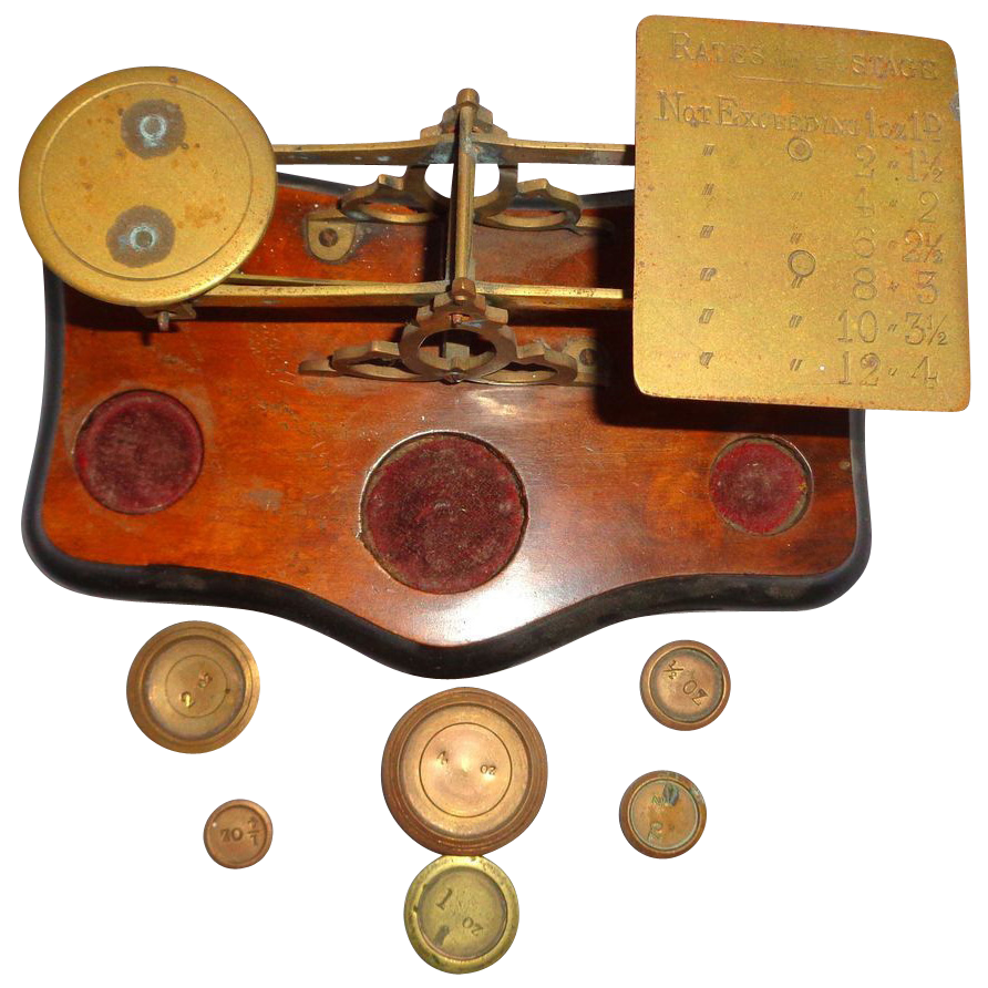 Antique English Balance Scale With Weights, Circa 1900 - 1910.