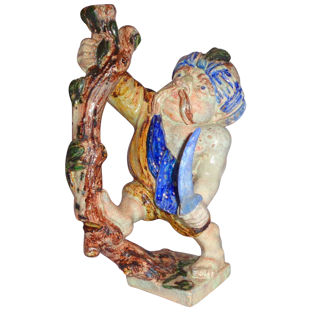 Very Rare Salt Glaze Pottery (Stoneware) Figurine With Historical Significance, Circa 1850