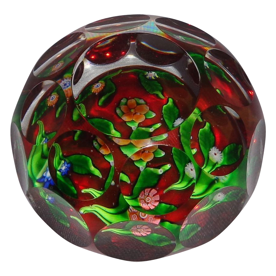 RARE Museum Quality Antique Saint Louis Faceted Bouquet Garland Ruby Color Ground Paperweight,  Exhibited And Listed