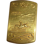 Jumping Horse, Airplane, Golf Club And Horseshoe, All On This Antique American Brass Match Safe Mold