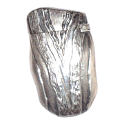 Antique Silver Match Safe (Vesta) In The Form Of A Wedge With Repousse Graining.