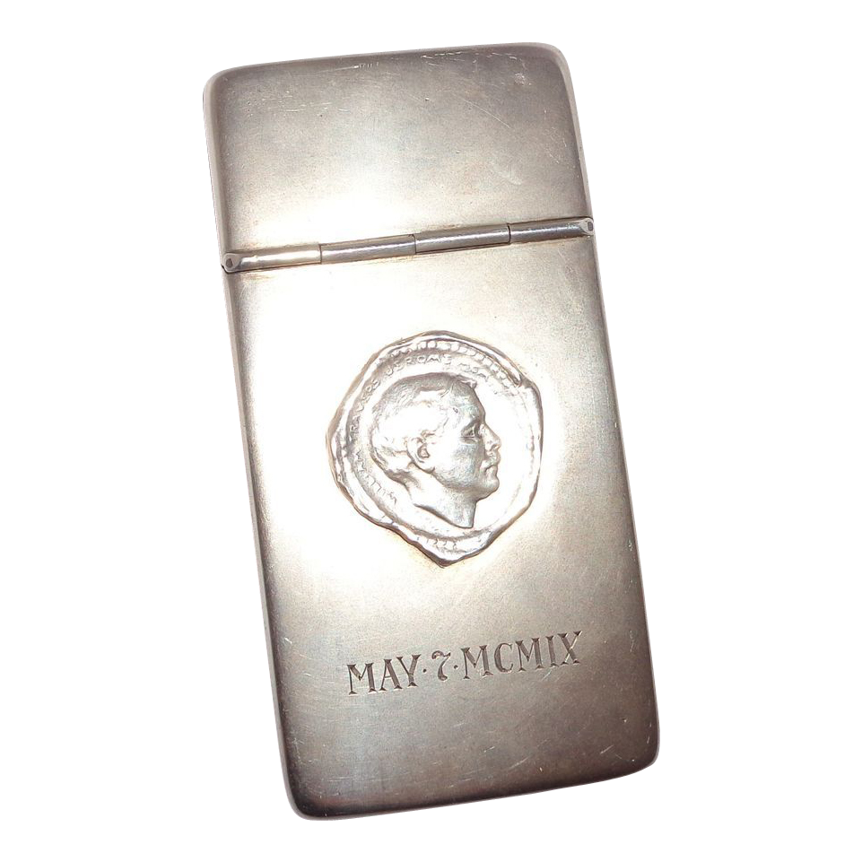 Very Unusual Match Safe (Vesta) or Calling Card Case - Signed by Mark Twain (Samuel Clemons) - c. 1909