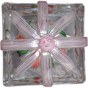 "STEVEN LUNDBERG - Personally Signed/Dated 1993 ""The Gift"" Crown In Crystal Block-Shaped Paperweight"