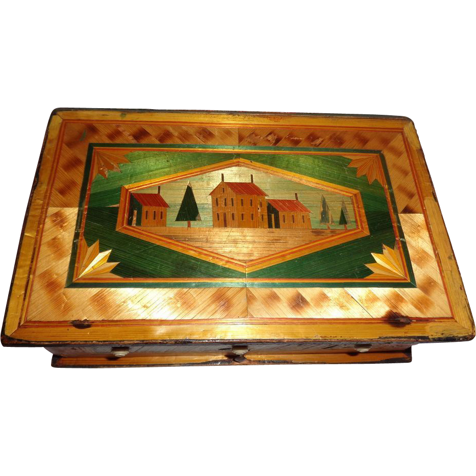 Antique Straw Box, Very Intricately Detailed, Made By a Napoleonic  Prisoner of War