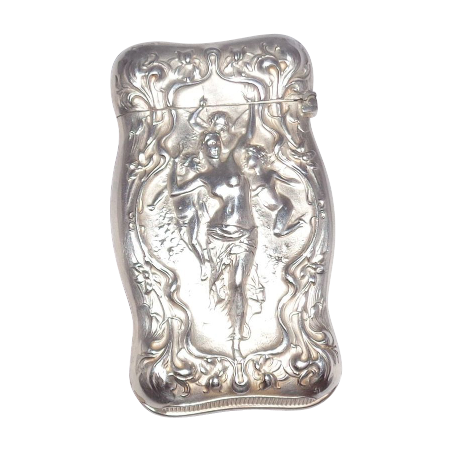 Antique Wallace Sterling Silver Match Safe (Vesta) With Sensuous Scene, Circa 1900