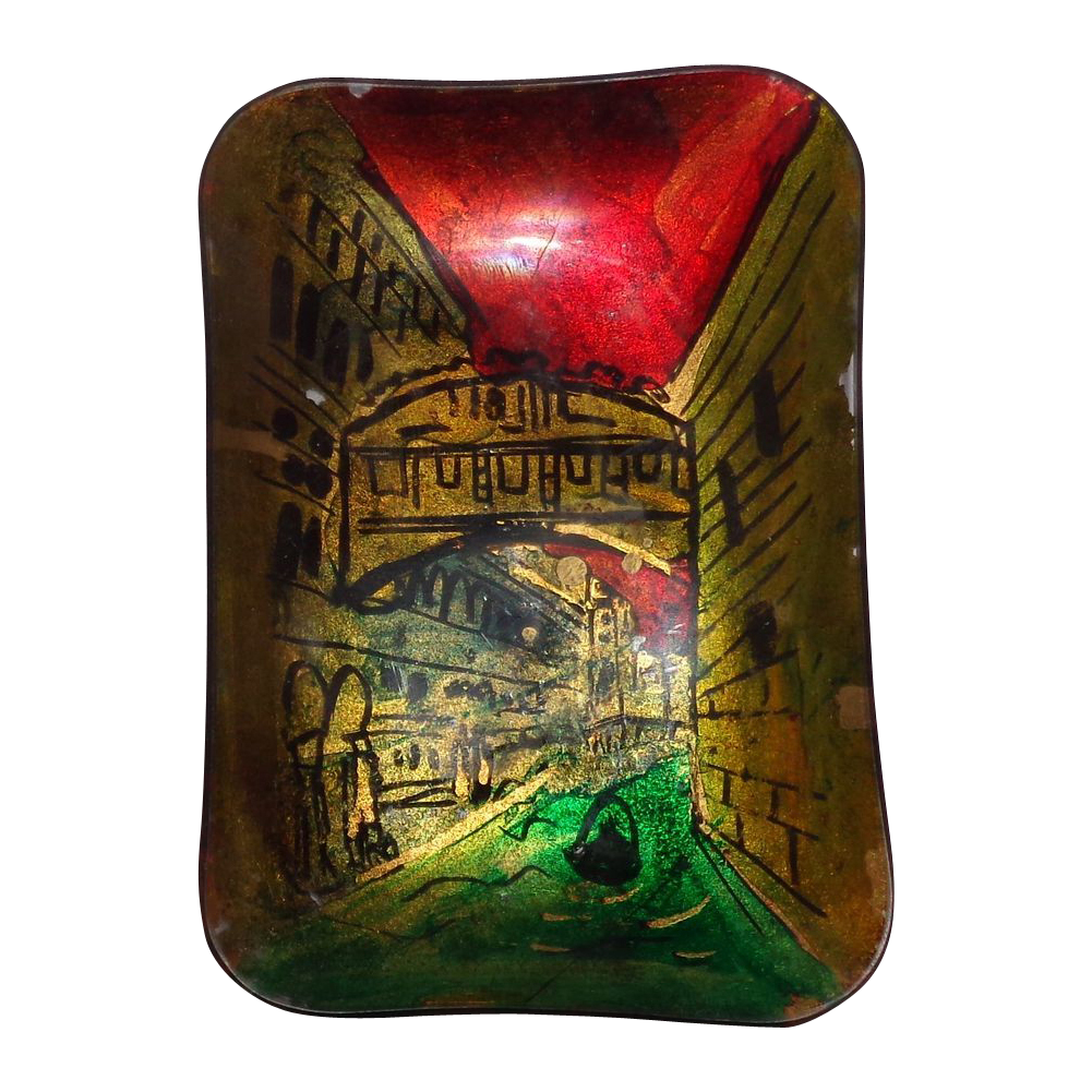 Italian Small Dish - Hand-Painted And Lacquered - Venice Scene